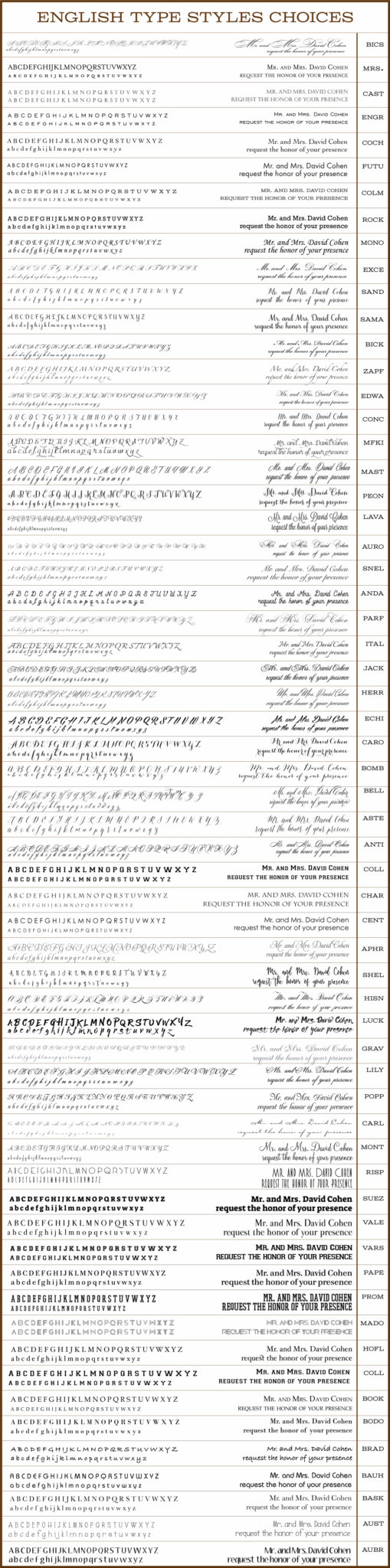 English Fonts for Invitations and printing by Cohen Printing