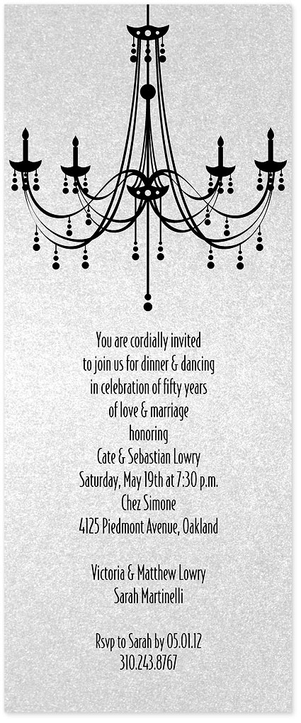 Chandelier party invitation custom wedding bar mitzvah and bat chandelier invitations without crystal mozeypictures Image collections