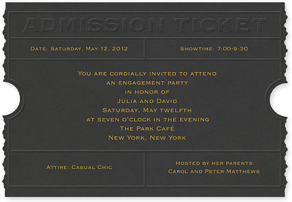 admission ticket party invitation custom weddinginvitation bar