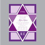 Mitzvah Purple Jewish Star Bat Mitzvah Invitation