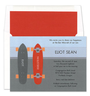 BC-MD608-1  Two skateboards Party invitation
