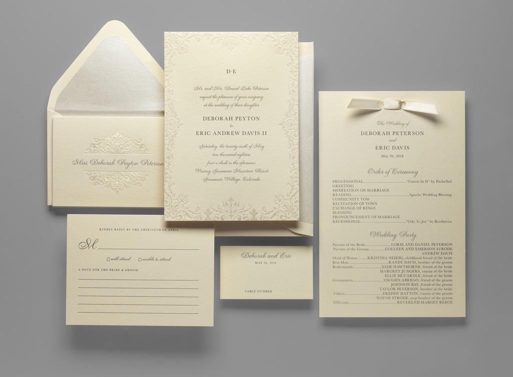 Sarina shmuel wedding invitation custom wedding bar mitzvah hebrew and english pearlized brocade border for your wedding invitation filmwisefo