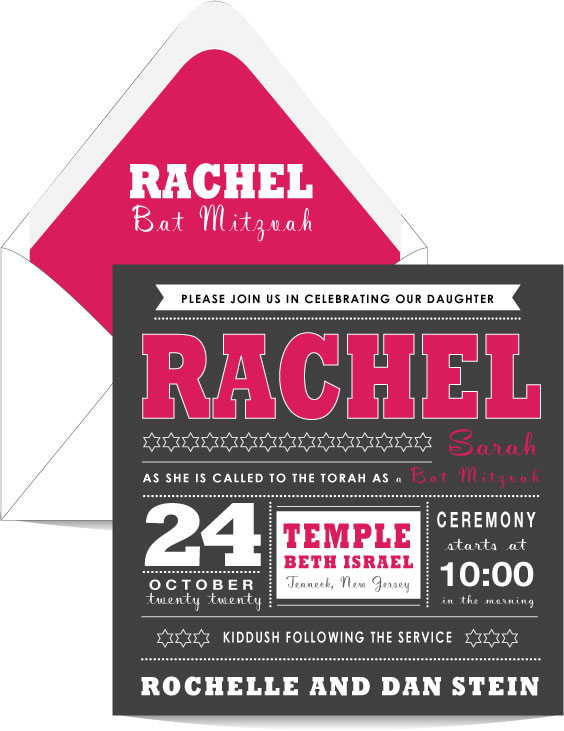 10 Kitchen And Home Decor Items Every 20 Something Needs: Be Bold Pink And Charcoal Bat Mitzvah Invitation