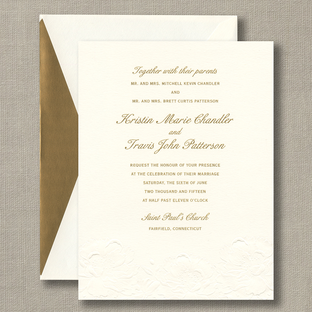 Embossed Large Flower Warm White Wedding Invitations – Custom ...