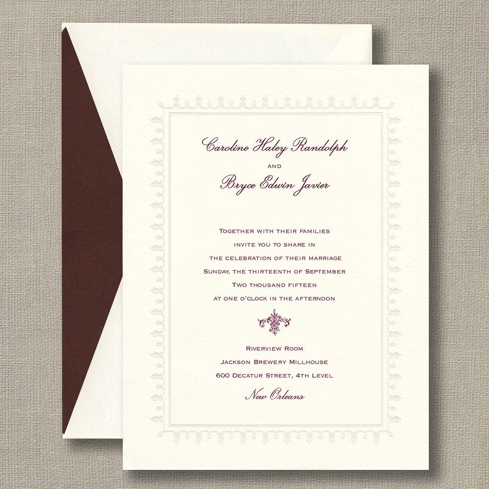 Pearl Lace Framed Warm White Wedding Invitations – Custom Wedding ...