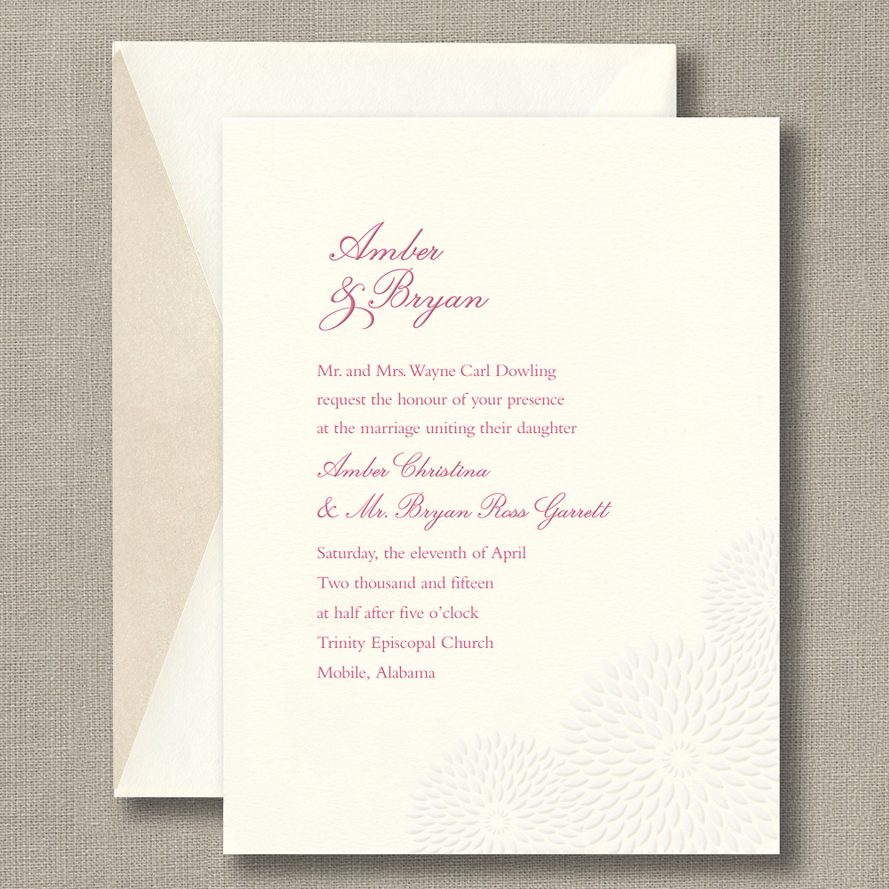 Embossed Dahlia – Wedding Invitation – Custom Wedding, Bar Mitzvah ...
