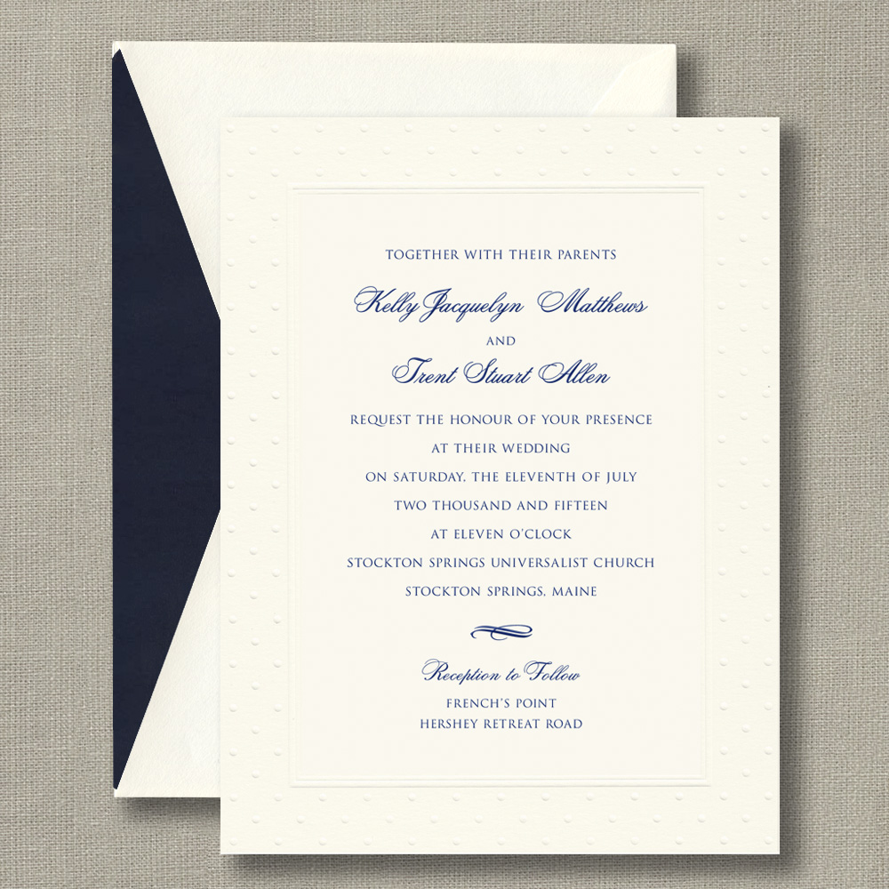 Embossed Swiss Dot Warm White Wedding Invitations – Custom Wedding ...