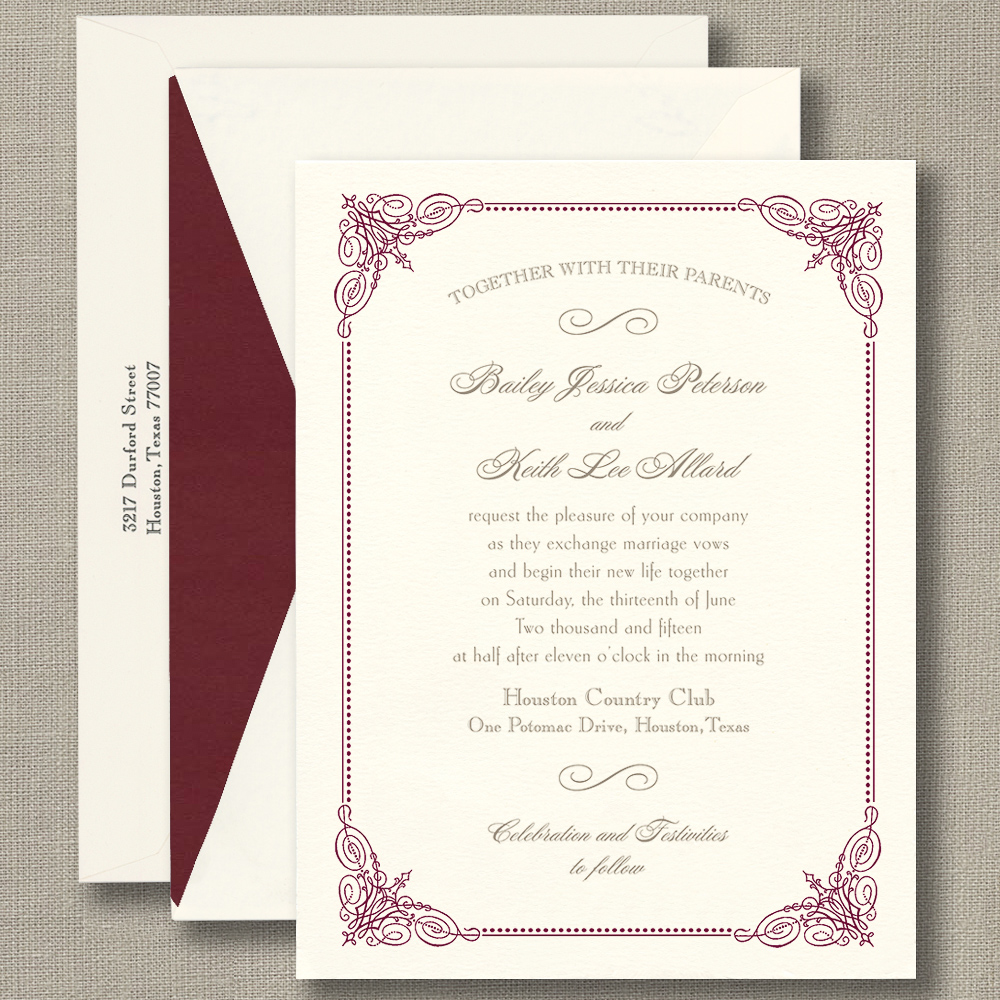 Burgundy Vintage Frame Warm White – Wedding Invitations – Custom ...