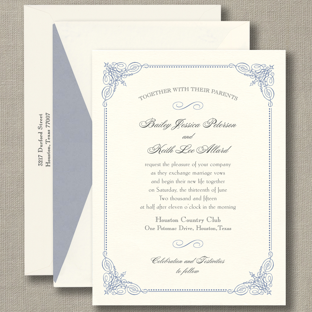 French Vintage Wedding Invitations: French Blue Vintage Frame Warm White Wedding Invitations