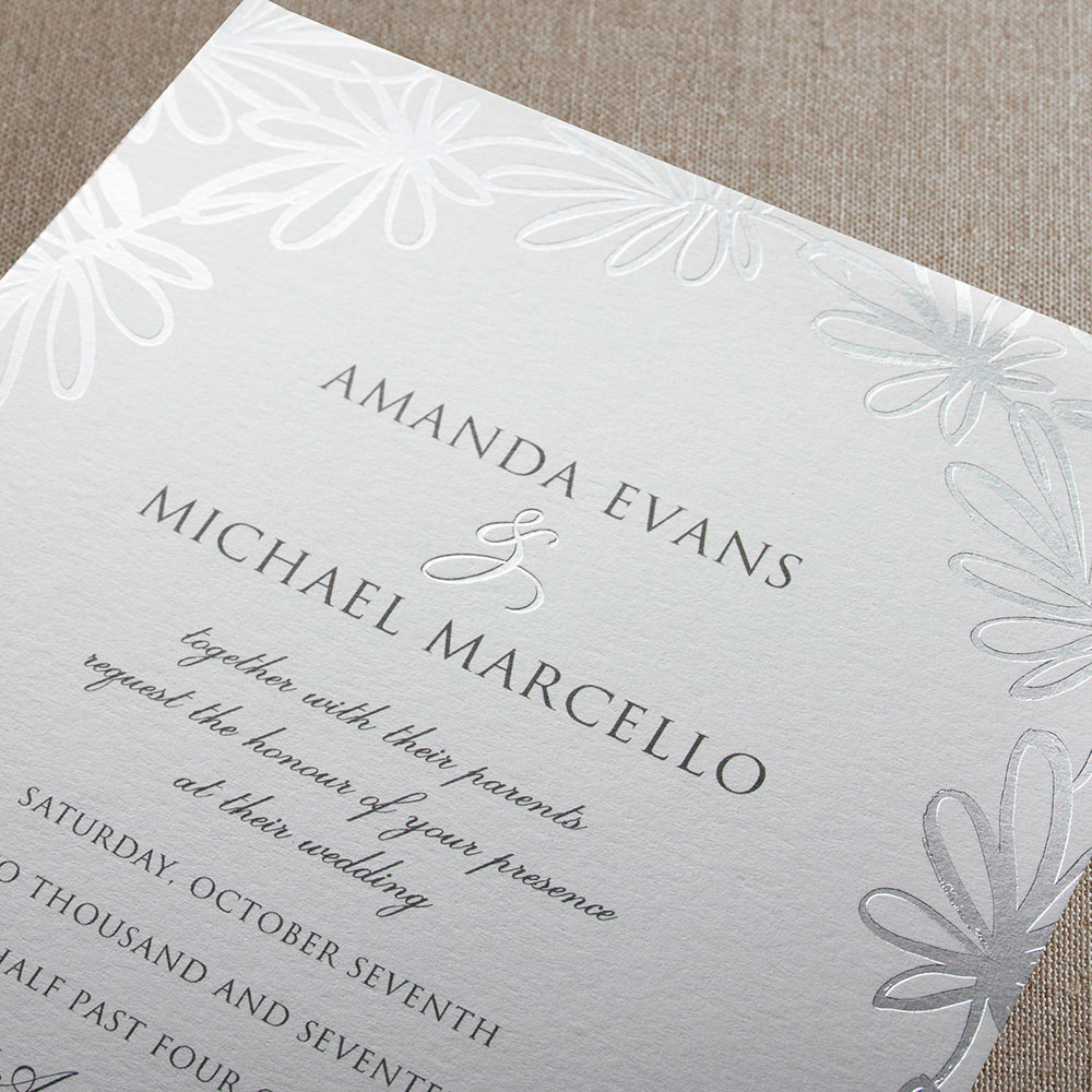 Silver Foil Stamped Garden Whimsy Invitation – Custom Wedding, Bar ...