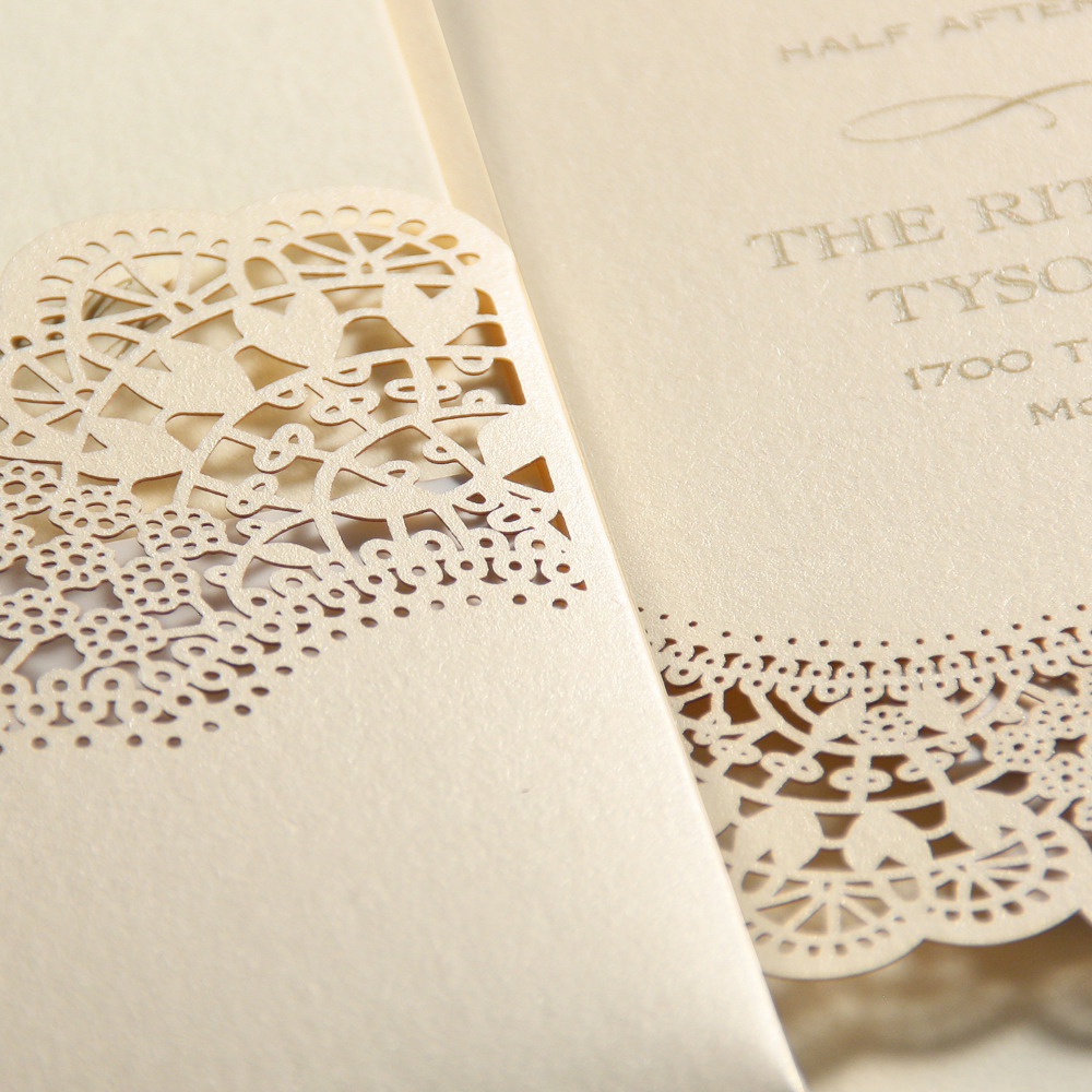 Opal Lace Shimmer Pocket Ecru – Wedding Invitations – Custom Wedding ...