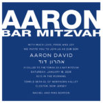 Blue and White Bar Mitzvah Invitation