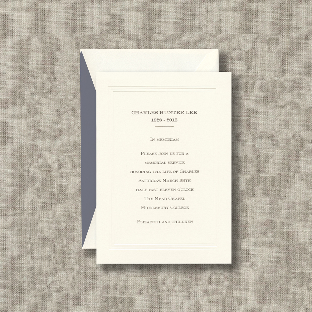 Large Ecru Memorial Service Invitation Cards with Pantheon Border