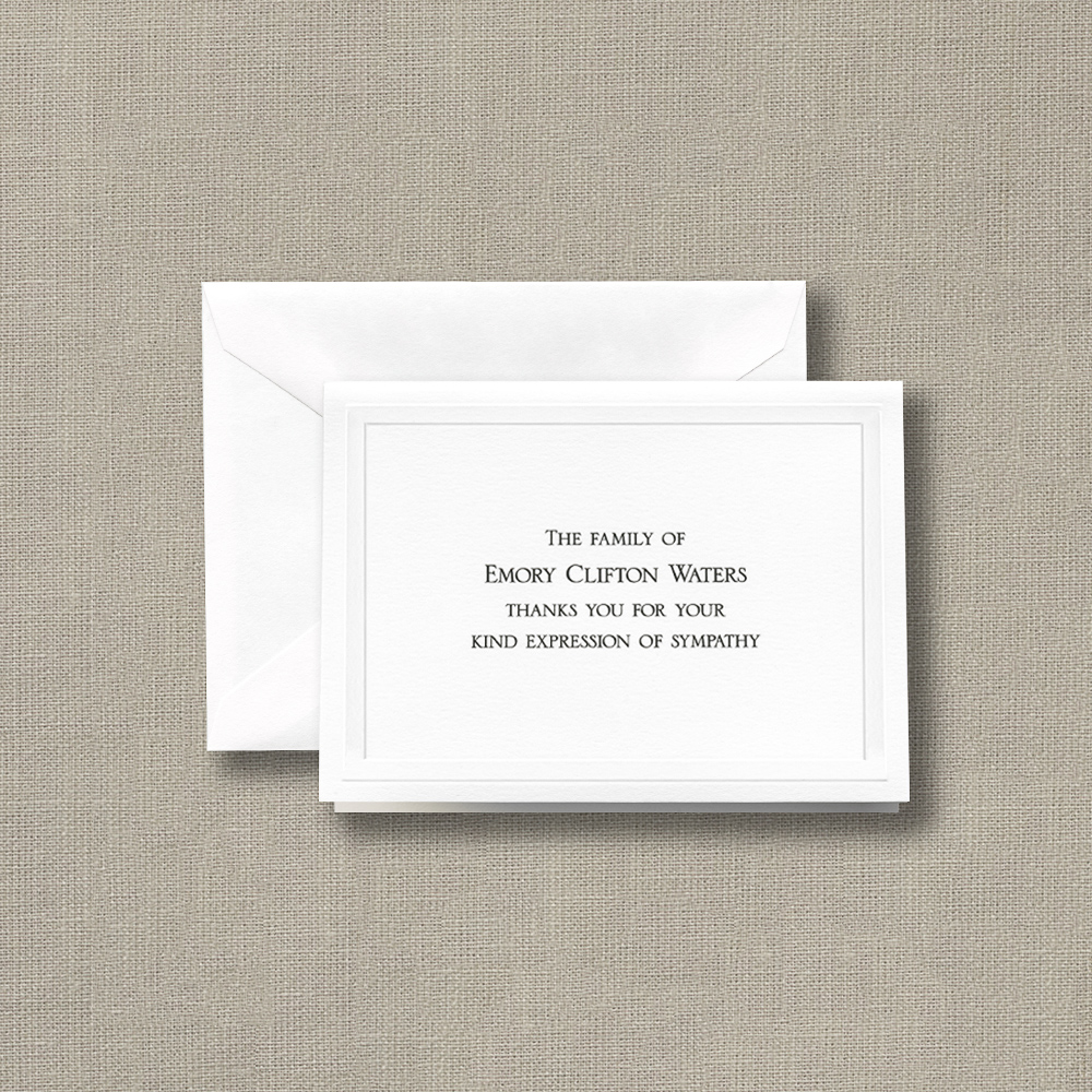 White Sympathy Acknowledgement Notes with Embossed Bar Border ...