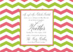Sophisticated Pink and Lime Chevron - Bat Mitzvah Invitation