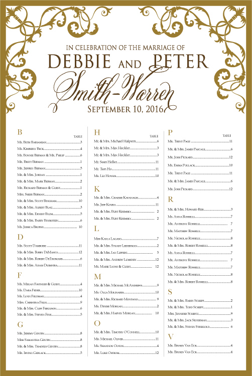 Fancy Border Table Plan Seating Chart Scroll