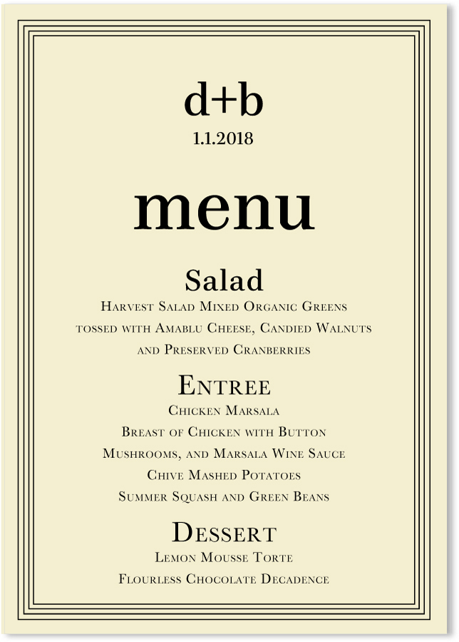 Be bold ecru wedding menus custom wedding party menu cards be bold ecru wedding menus custom wedding party menu cards junglespirit Images