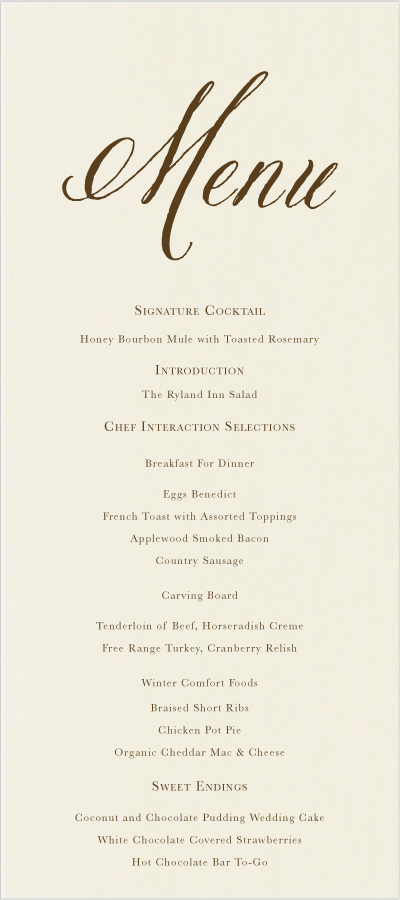 Wedding Menu Cards.Calligraphy Swirling Scroll Wedding Menus Custom Wedding Party Menu Cards
