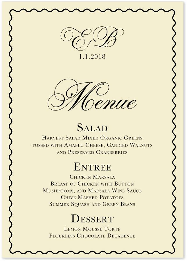 Celebration Ecru Wedding Menus Custom Party Menu Cards