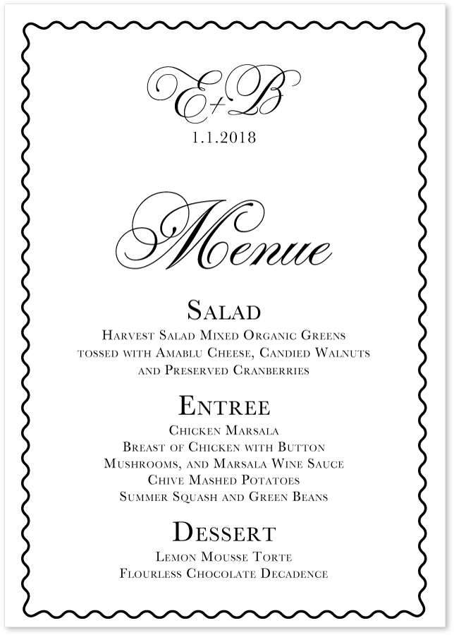 Celebration White Wedding Menus Custom Party Menu