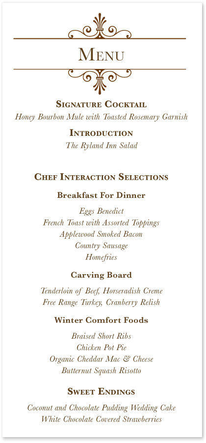Elegant flourish white wedding menus custom wedding party menu elegant flourish white wedding menus custom wedding party menu cards junglespirit Images