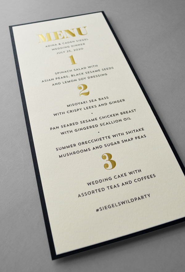 Personalized Wedding Menus