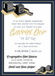 Tradition Tefillin and Navy Border - Bar Mitzvah Invitation