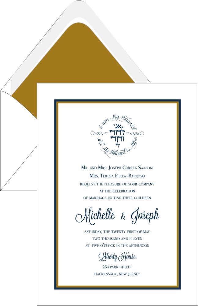 Elegant White Navy and GoldBorder Wedding Invitation Custom