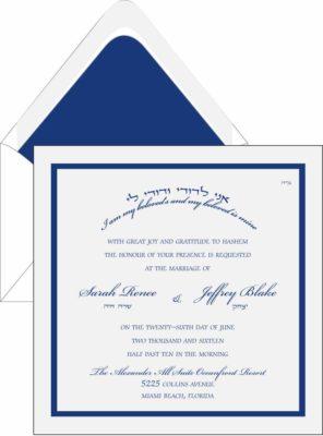 White Double Navy Border - Wedding Invitation