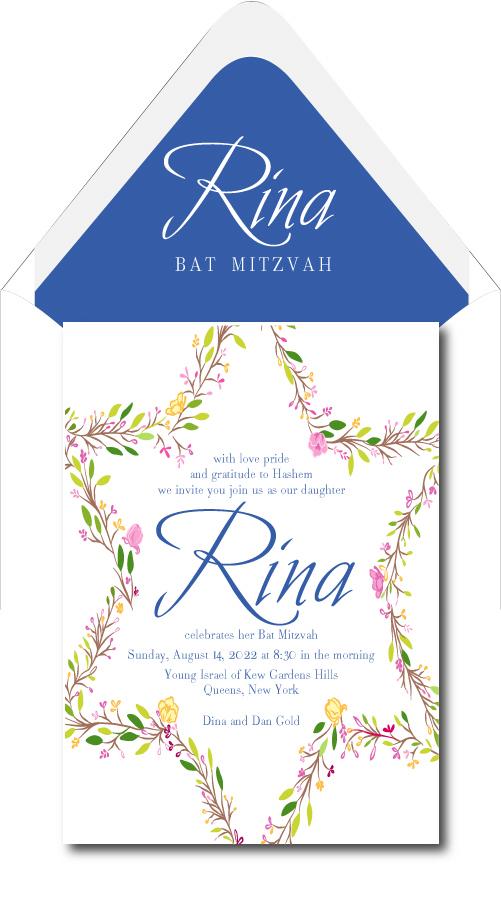 flowery star of david bat mitzvah invitation custom wedding bar