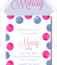 Watercolor in Circle - Bat Mitzvah Invitation