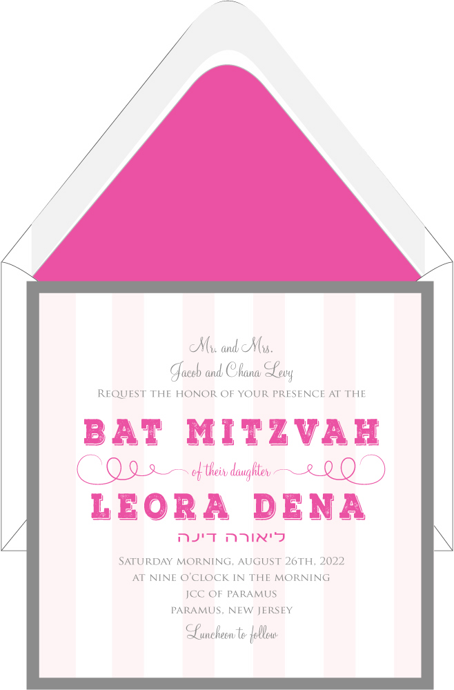 Charcoal and Rose Strip Bat Mitzvah Invitation Custom Wedding