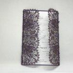 Eggplant Shimmer Bohemian Lace Laser Cut Gatefold and White Wedding Invitation