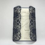Navy Shimmer Bohemian Lace Laser Cut Gatefold and Ecru Wedding Invitation