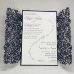 Navy Shimmer Spring Vines Lace Laser Cut Gatefold and White Wedding Invitation