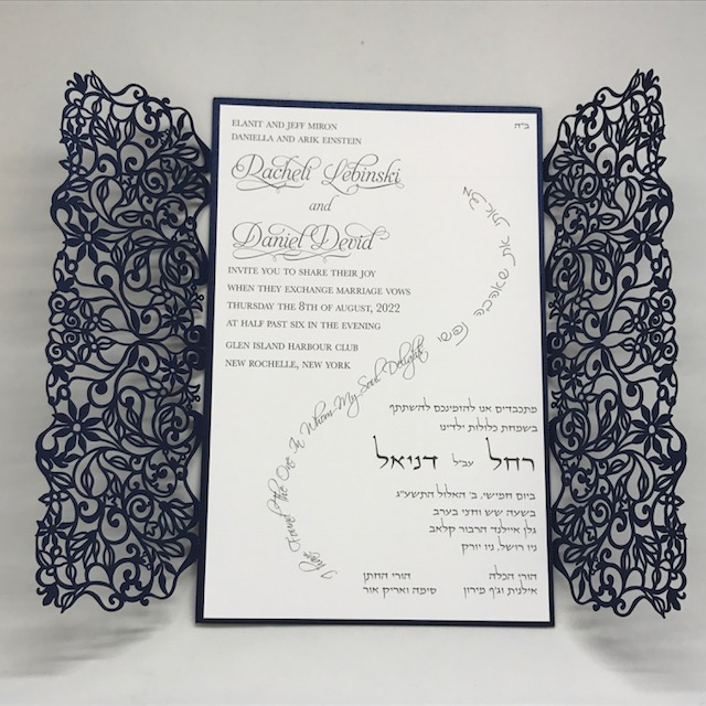 navy shimmer spring vines lace laser cut gatefold and white wedding
