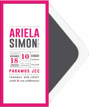 Unique Charcoal and Pink Bat Mitzvah Invitation