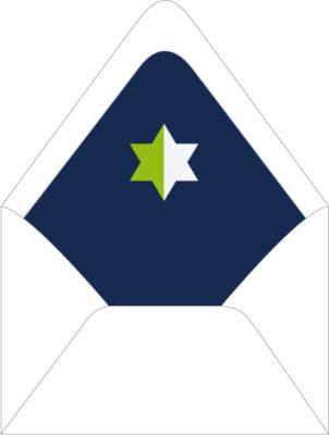 Green and Navy Star of David | Custom Hand Lined Envelopes
