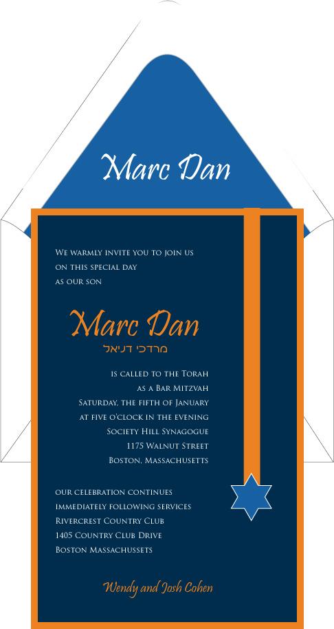 Star of david orange blue ribbon bar mitzvah invitation custom star of david orange blue ribbon bar mitzvah invitation stopboris Gallery