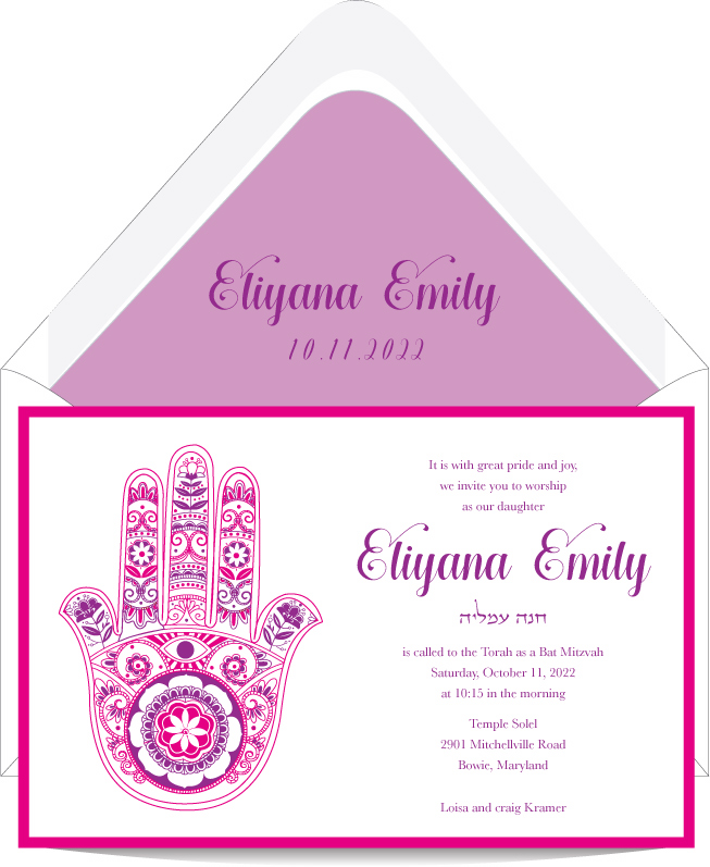 Fancy Hamsa Bat Mitzvah Invitation Custom Wedding Bar Mitzvah and