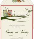 Love Owls Jewish Wedding Invitation Ecru