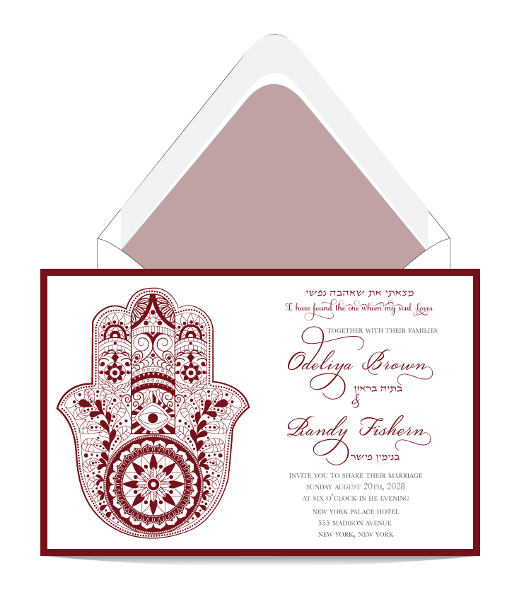 Hamsa And Wine Wedding Invitation Custom Weddinginvitation Bar