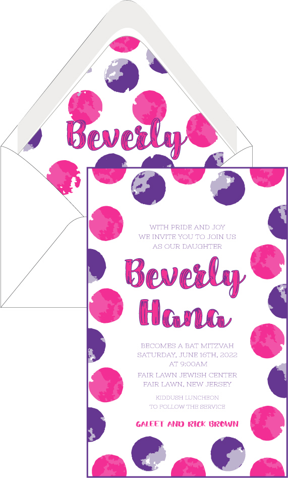 Hot Pink and Purple Circles Bat Mitzvah Invitation – Custom Wedding ...