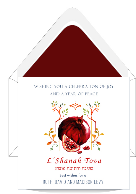 Pomegranate wishes jewish new year card custom wedding bar pomegranate wishes jewish new year greeting card m4hsunfo