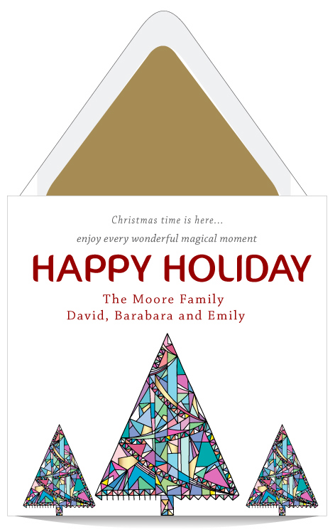 Christmas Tree Cards Designs.Hand Draw Christmas Tree Holiday Card