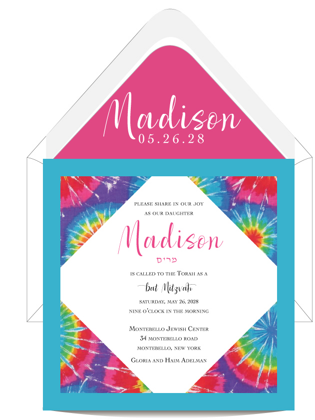 Colorful Tie Dye Layered Bat Mitzvah Invitation