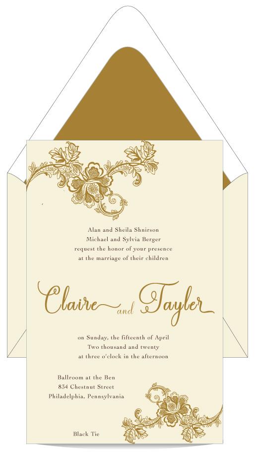 Elegant Gold Romance Wedding Invitation Custom Wedding